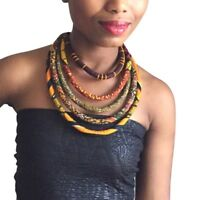 Women's Ankara Knot Necklace African Wax Print Colorful Cotton Fabric Jewelry