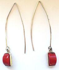 925 Sterling Silver Simple Style Ear Rings Dangling Drop Hook Drop Coral Big