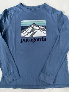 Patagonia Blue Kids Long Sleeve Shirt Youth Logo
