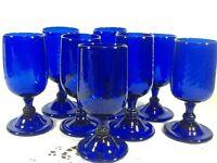 Cobalt Blue Hand Blown Footed Water Wine Tea Goblets Glasses Swirls