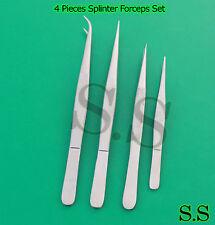 Splinter Forceps - Fine Point - Surgical Set of 4 Pieces