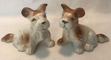 2 Vintage Scottish Terrier Porcelain Figurines Japan Very Good