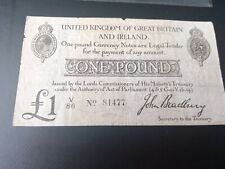 More details for t11 type 1 bradbury 1914 £1 treasury note -  v 86 no81477 extremely rare