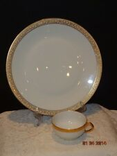 Haviland Dinner & Cup Made in France White w/ Gold braided Edge Limogenes marks
