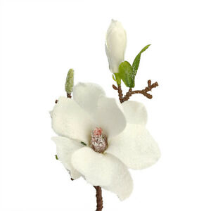 35cm Artificial Frosted Magnolia Stem for Christmas Floristry Crafts