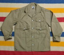 NEW Post Overalls O'All's USA Nylon Button Up Beige Utility Chore Jacket M