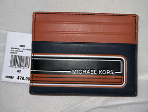 $Michael Kors Men's Kent Orange Navy 6cc Card Case Holder Rfid Wallet $78.00