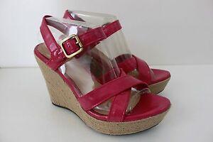 Women's Ugg Size 9.5 Jackilyn Princess Pink Patent Wedge Sandal Heel Shoe