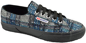 $75 SUPERGA Blue Gray SIlver Check METALIC MESH Sneakers Shoes NEW COLLECTION