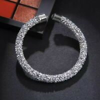 Silver Metallic Crushed Crystal Open  Cuff Bracelet made with Swarovski Elements