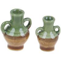 2Pcs/set 1:12 Dollhouse Miniature Ceramic Flower Vase Doll House Accessories  Jf