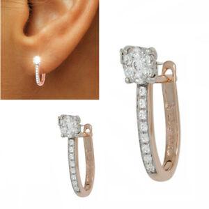 Creolen 585 echt Gold Roségold 14 Karat Damen Diamant-Ohrringe 0,28 ct. neu
