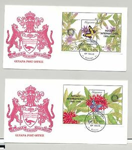 Guyana 1990 Butterflies Black o/p Rotary 2v Imperf S/S on 2 FDC