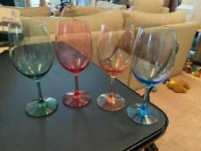SET OF 4 WINE ENTHUSIAST INDOOR / OUTDOOR MIXED COLORS PLASTIC WINE GLASSES