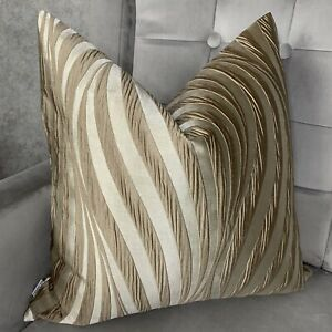"Cushion Cover 16"" Designer Ashley Wilde Tulie Fabric Gold & Beige Decor"