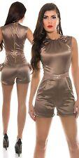 Bronze mocha satin playsuit shorts & Top in sizes 10  playsuit sexy glitter belt