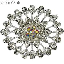 NEW SILVER FLOWER BOUQUET BROOCH DIAMANTE CRYSTAL WEDDING BRIDAL GIFT BROACH UK