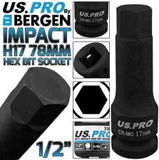"""BERGEN H17 Impact Hex Bit Socket 1/2"""" 17mm Impact Allen Key 78mm long Hex Socket"""