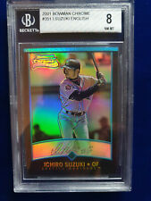 🌟ICHIRO SUZUKI 2001 BOWMAN CHROME REFRACTOR ENGLISH ROOKIE RC BGS 8 MARINERS