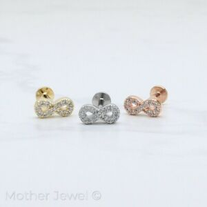 SIMULATED DIAMOND INFINITY SILVER 14K ROSE YELLOW GOLD IP 8MM CARTILAGE STUD