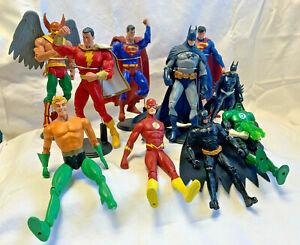 Lot of DC Action Figures Shazam Superman Hawkman Batman Flash Green Lantern Toys