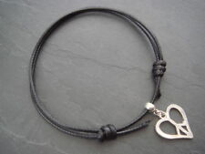 2mm black nylon cord anklet adjustable with silver heart peace sign charm