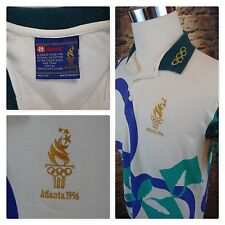 1996 Atlanta Centennial Olympic Hanes Embroidery Patch Polo Men's Shirt SZ M