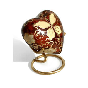 Golden Butterfly Small Heart Keepsake Urn for Ashes, Butterfly Funeral Urns