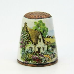 COLLECTABLE METAL THIMBLE THATCHED COTTAGE