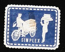 VINTAGE CINDERELLA Simplex Motorcycle Vendor Blue Old HingeTape Remnant F