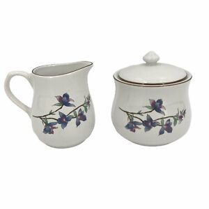 Woodhill by Citation Sugar with Lid and Creamer Cream Floral Design