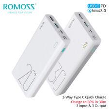 ROMOSS Power Bank QC3.0 USB-C 18W Charge Rapide 3USB Chargeur Batterie Externe