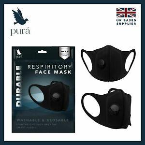 Black Washable Neoprene Cycling Face Mask 1 Valve Face Cover Sealed Masks UK
