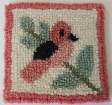 Small Cheticamp DRINK COASTER Hooked Style Wool Pink with Bird