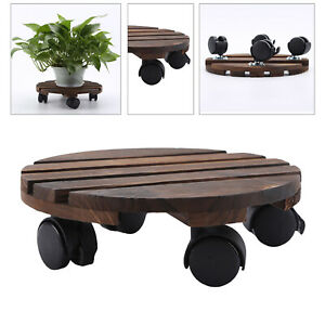 Plant Stand Caddy Dolly Round Flower Pot Wooden Trolley Mover With Wheels