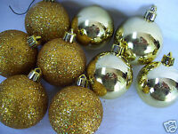 Lot Of  9 Holiday Ornaments 5 Gold Glitter & 4 Plain Gold Color Glass