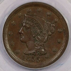 1855 Large Cent 1c PCGS MS62BN OGH Old Green Holder Nice chocolate brown!