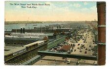 New York City NYC-WEST STREET & HUDSON RIVER PIERS-Postcard West Shore Railroad