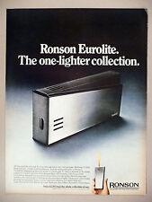 Ronson Eurolite Cigarette Lighter PRINT AD - 1968 ~~ cigars