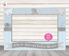 Blue Boy Elephant Baby Shower Photo Booth Frame Prop - PRINTED & SHIPPED