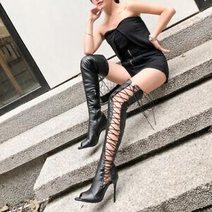 Super Sexy Stiefel Overknee 44 45 46 Nachtclub Gladiator High Heels Damen Pumps
