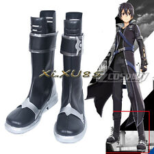 Sword Art Online Kirito Cosplay Boots Black Boots Men's Cosplay Shoes Halloween