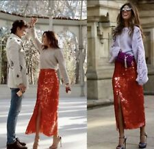 Zara AW18 Women Sequin Skirt Red Size S NWT