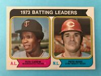 1974 Topps Baseball Card #201  1973 Runs Batting Leaders- Rod Carew  Pete Rose