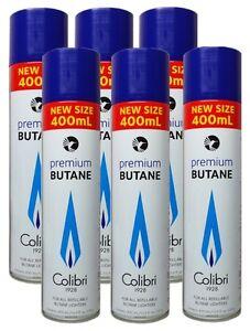 (11,54€/1L) Colibri Premium-Feuerzeug-Gas XXL Set 6 x 400ml hochrein universell