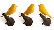Wandhaken mit Vogel Sparrow auf Ast - 2er Set - gelb/braun - Kleiderhaken, Deko