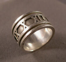 Signed Tiffany & Co. 1995 Sterling Atlas Roman Numerals Wide Band Ring Size 6