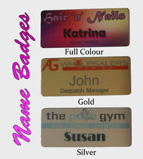 1 x NAME BADGE w/ PIN tags business work staff logo 7x3 cm metal cheap nurse