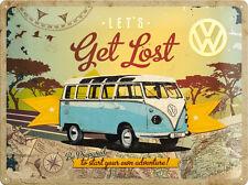 VW Volkswagen Bully Autobus Collage Targa di Latta 3D Rilievo Metallo 30 x 40 CM