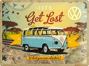 VW Volkswagen Bully Bus Collage Blechschild 3D geprägt Tin Sign 30 x 40 cm